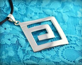 greek key silver pendant, greek key pendant, silver pendant, greek pendant, greek jewelry, goddess jewelry, goddess pendant, greek key