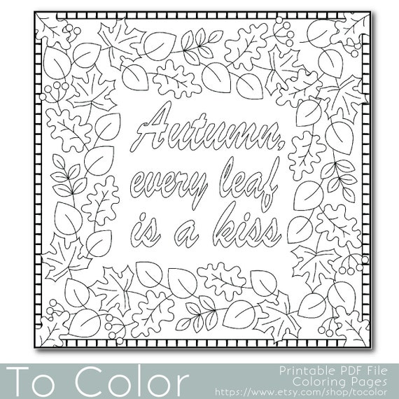 Items similar to autumn leaves coloring page for adults for Fall theme coloring pages