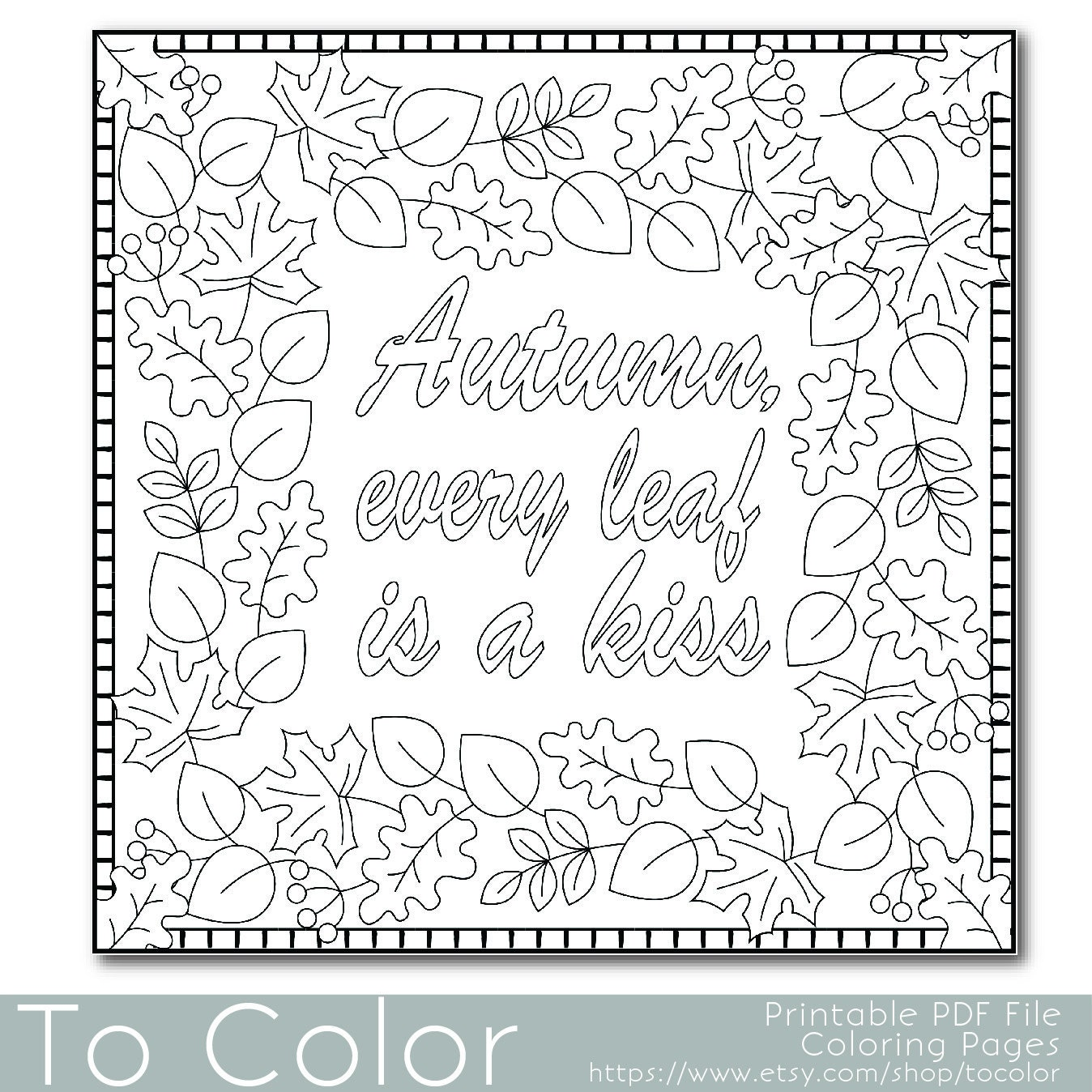 Autumn Leaves Coloring Page For Adults PDF JPG By ToColor