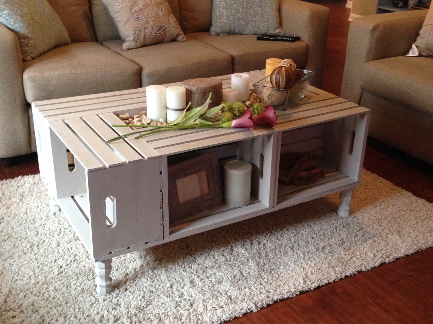 Shabby Chic Wine Crate Coffee Table