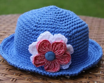crochet hat and flower for girl