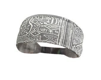 Aztec Boho Pattern Soft Lightweight  Jersey Workout Headband Gray