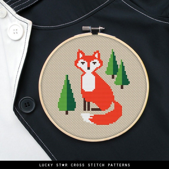 Cute Orange Fox Counted Cross Stitch Pattern PDF – Easy Woodland Nursery Animal Cross Stitch – Forest Animals Fox Pattern – Instant Download