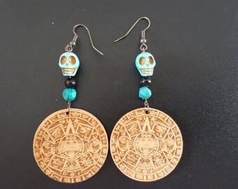 Laser-Engraved Handmade Aztec Calendar Earrings