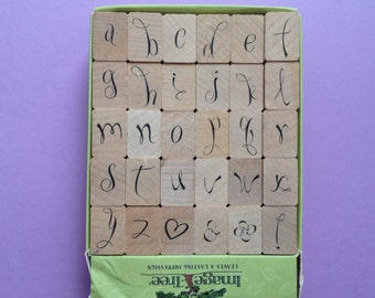 Alphabet wood mounted rubber stamp gently used
