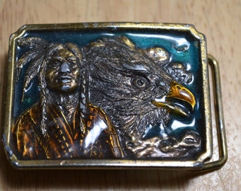 1984  Bergamot Native American Indian Chief with Eagle Brass Buckle 1984 Made in USA
