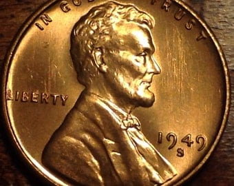 1949 S BU Wheat Penny Lincoln Cent rare US Antique from OBW Roll coin  #964D
