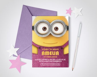 Minion Party Invite PINK - Edit and Print as many copies as you like / Despicable Me / Minions / DIY party invite