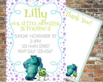 Personalized Monsters Inc Invitations and Thank You Cards Printable