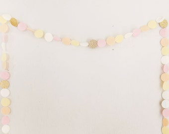 Felt & glitter garland.  Pastel circle bunting in ivory, peach, pale yellow, pale pink, and gold. Nursery bunting. Birthday garland banner.