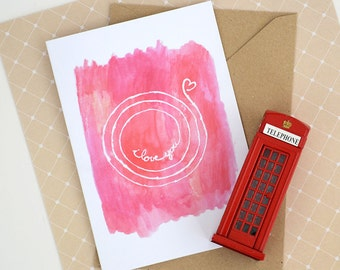 I love you infinitely card. Valentine's Day Mother's Day card, Father's Day card. Red watercolor calligraphy love greeting card.