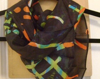 Hand Painted Silk Scarf - Black with Colorful Details