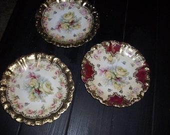 "3-9"" Vintage Rose Painted Bowls"