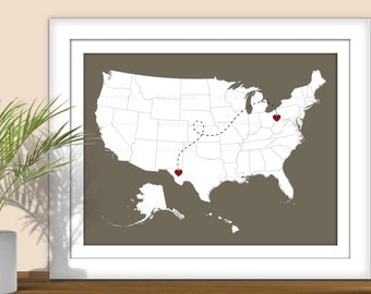 State Art - State to State USA Map Art- Custom Colors, Digital Printable. Heart over Cities. State Print