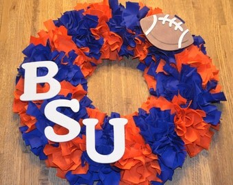 Boise State Rag Wreath w/ Big Football