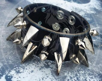 Wrist Band Spiked With Dragon Claw Studs And 13mm Hex Studs