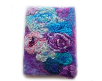 Felted book cover, which will remind you of the sea, 100% wool, handmade wet felting