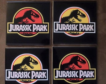 Jurassic Park inspired drink coasters | Set of 4