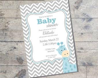 Chevron Giraffe Baby Shower invitation  (BLUE) DIY Printable Baby shower boy Giraffe theme baby shower baby boy baby shower invitation