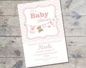 Washing Line Baby Shower invitation  (PINK) DIY Printable Baby shower Washing line theme baby shower pink baby shower invitation