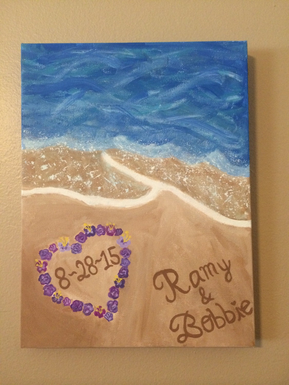 Custom Beach Canvas Painting Wedding Gift
