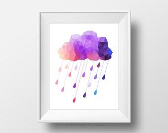 SALE -  Purple Geometric Rain, Geometric Pattern, Purple Rain, Purple Cloud, Geometric Print, Raindrop Print, Digital Print