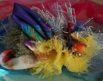 Recycled Fabric Flower Corsage Bird of Paradise One