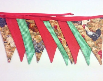 Fabric bunting,farmyard decoration, red green bunting ,birthday party decoration bunting banner, bunting flags, photo prop, kids room decor,
