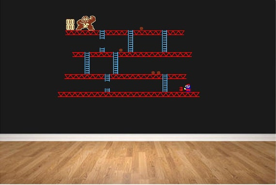 Donkey Kong Mario Retro Arcade Video Game Wall Art Vinyl