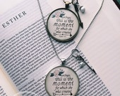 "Esther 4:14 Bible Verse on Necklace ""Perhaps this is the the moment for which she was created"" Vintage Brass or Ant Silver Pendant Necklace"