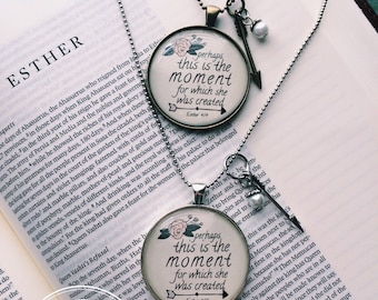 """Esther 4:14 Bible Verse on Necklace """"Perhaps this is the the moment for which she was created"""" Vintage Brass or Ant Silver Pendant Necklace"""