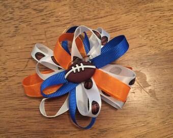 Football hair bow clip