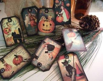 EIGHT Vintage Halloween Scrapbook Hang Tags, Gift Tags