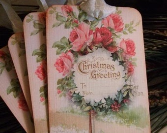 Vintage Christmas Greeting Wreath Hang Tag Scrapbooking Gift Tag