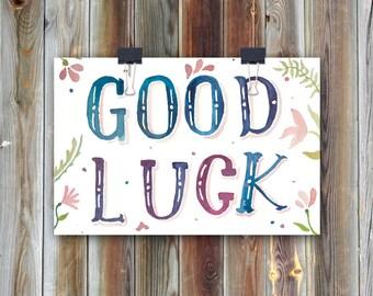 Good Luck // Handmade Watercolor Greeting Card