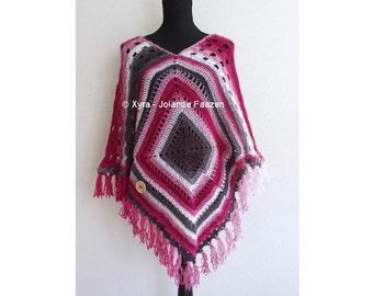 Xyra PATR1015-crochet pattern-poncho 2 squares (Dutch & English US)