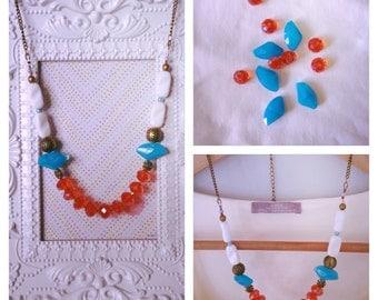 Aqua Orange Statement Necklace