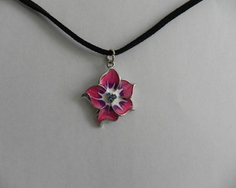 """22"""" Black Suede Cord Necklace with Flower Charm"""