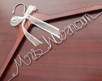 Personalized wedding hanger, personalized wedding dress hanger, custom wedding hanger, custom bridal bride bridesmaid name hanger