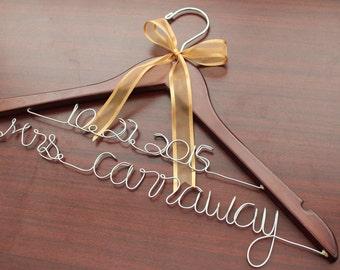 Personalized wedding hanger, custom bridal bride bridesmaid name hanger, personalized wedding dress hanger, custom wedding hanger