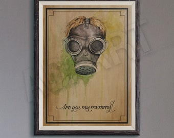 Are you my mummy of Doctor Who illustration limited edition watercolor copy