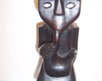 Statue Carved Wood Appearance African Blowing Horn about 11""
