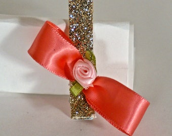 gold and pink/peach hair clips