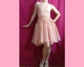 SUMMER SALE! Vtg 60s pink organza chiffon ballerina party prom wedding cocktail formal halter sleeveless ruched waist dress gown size S