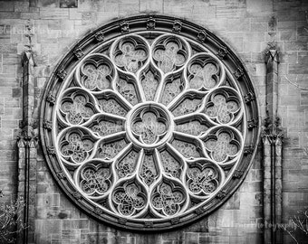 Stained Glass Window. Photography, NY, New York City, Photograph, Print, Manhatthan, Black & White, Gothic