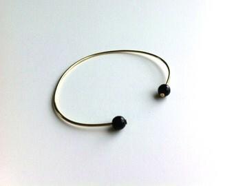brass Golden Onyx Bangle Bracelet