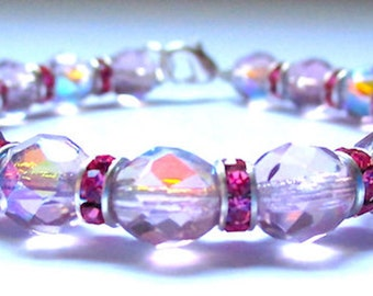 Pink Rhinestone And Light Amethyst AB Swarovski Crystals Bracelet
