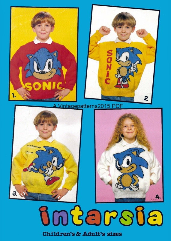 4 Sonic The Hedgehog Sweater Knitting by VintagePatterns2015