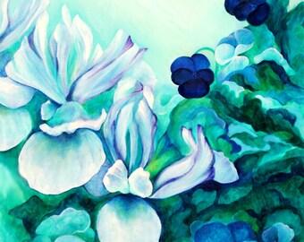 Blue Iris and Pansies, Giclee Art Print of Original Oil Painting, Flowers, Blue, Green, Painting, Art Print, Art, Wall Art, Home Decor