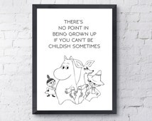 Moomin Poster-Nursery Print-Instant Digital Download-Printable Poster-Inspirational Quote-Typography Print-Modern Wall Art-black white art